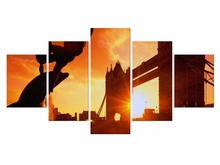 5 Pieces Canvas Wall Art Landscape Painting Sunset Sea Panorama Seascape Decor Picture Panel Boards For Home Room Framed