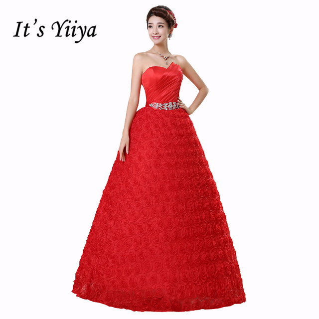 6aa68701ae8 Free Shipping Vestidos De Novia Real Photo Flowers Strapless Red White Rose  Wedding Dresses Floor Length