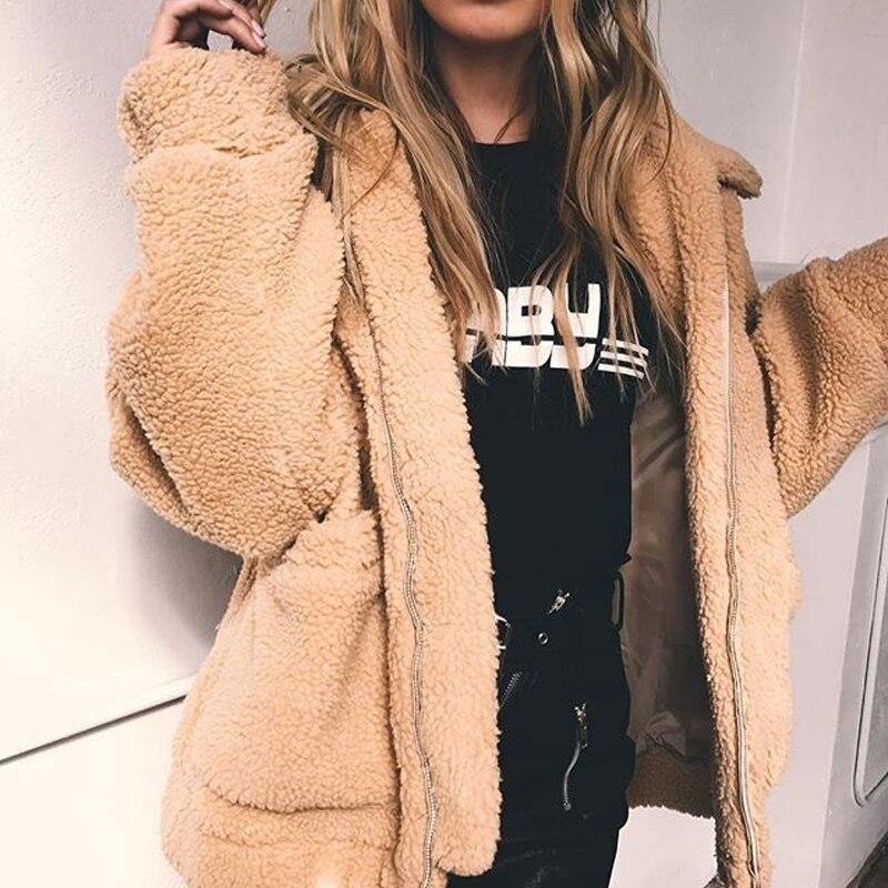 Leiouna Fleece Faux Fur Coat Jaket Women Autumn Winter Warm Soft Jacket Thick Zipper Overcoat Short Manteau