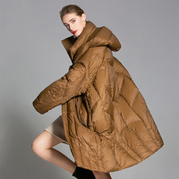 PLUS winter big code down jacket 2018 ladies new medium and long women's coat, white eiderdown, thickened down garment.