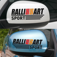 1 Pair Customizable RALLIART Rearview Mirror Stickers Decal Car Styling For Mitsubishi Lancer Ex Asx Outlander