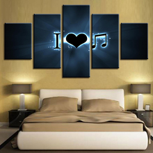 Home Decoration Wall Artwork Canvas Paintings 5 Panel I Love Music Picture Hd Prints Modern Poster For Bedroom Modular Framed