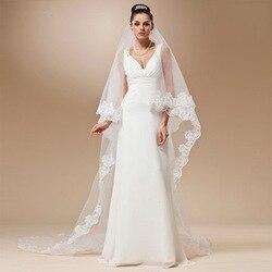Véu de casamento laço catedral acessórios sobre 3m longo voile mariage algodão cheaps simples vail noiva véu nupcial nenhum pente