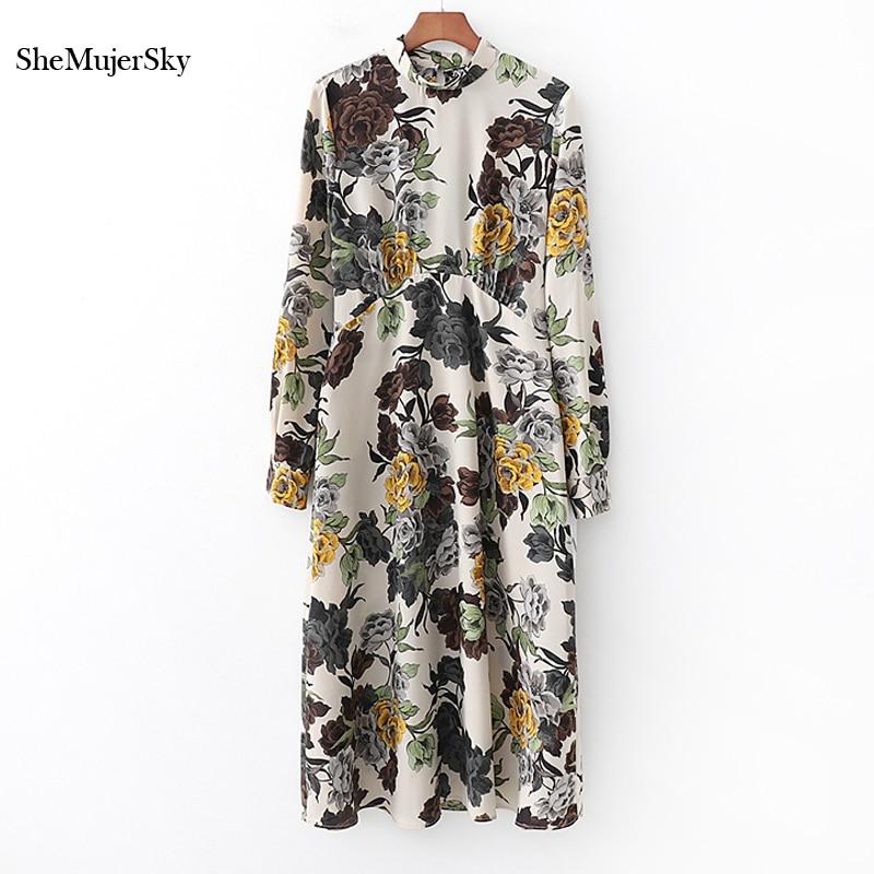 SheMujerSky Branco Floral Vintage Vestido Mulheres Outono Manga Longa Midi Vestidos Elegante Bodycon moda mujer 2018