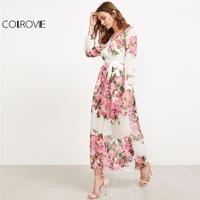 COLROVIE 2018 Surplice Neckline Florals Self Tie Chiffon Dress A Line Wrap Deep V Neck Dress