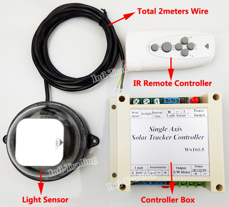 Powerful Single Axis Solar Tracker Sun Tracking Controller Kit 12V 24V WST03-5