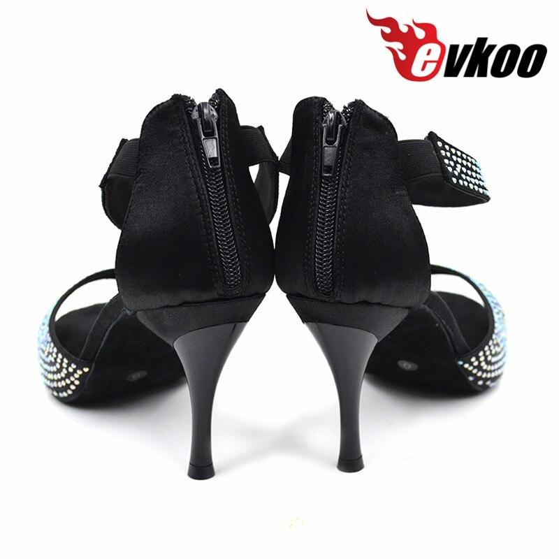 6a1ee313e7875 Evkoodance Latina Zapatos Salsa danse chaussures Meilleur vendeur 8.5 cm à  talons hauts noir Latine Strass de danse chaussures pour femme Evkoo 375  dans ...