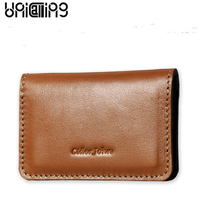 UniCalling Fashion Brand Genuine Leather men card holder Solid Color small men id card holder cow leather credit card holder
