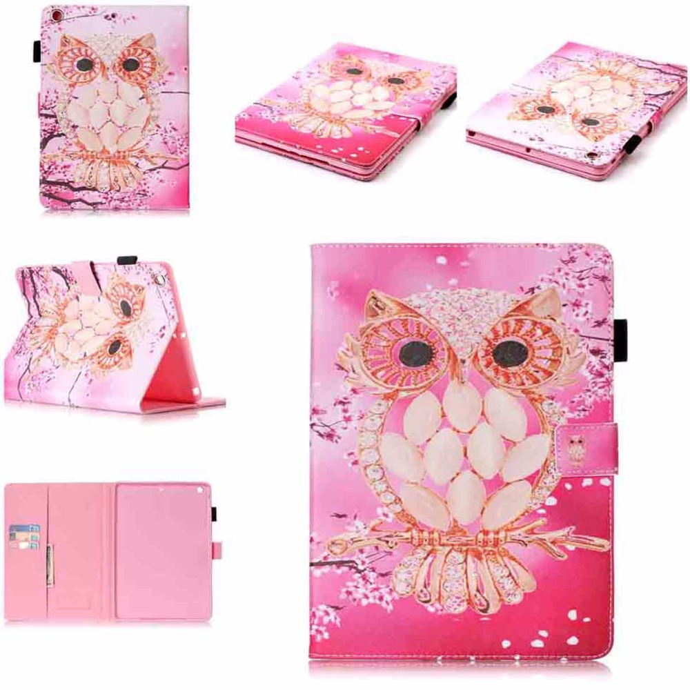 For iPad Air 1 Case Kids Pink Owl Pattern Flip PU Leather Kickstand Tablet Cases Cover for iPad Air iPad 5 Coque Fundas cover case for apple ipad air 2 protective stand luxury pu leather flip cover 9 7 inch tablet cases for ipad 6 ipad air 2 fundas