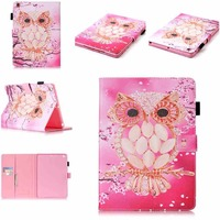For IPad Air 1 Case Kids Pink Owl Pattern Flip PU Leather Kickstand Tablet Cases Cover
