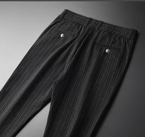 Image 3 - Minglu w pionowe paski męskie spodnie Plus rozmiar 4xl luksusowa miękka przędza barwiona jesień mężczyźni dorywczo spodnie Slim Fit elastyczne spodnie obcisłe mężczyzn