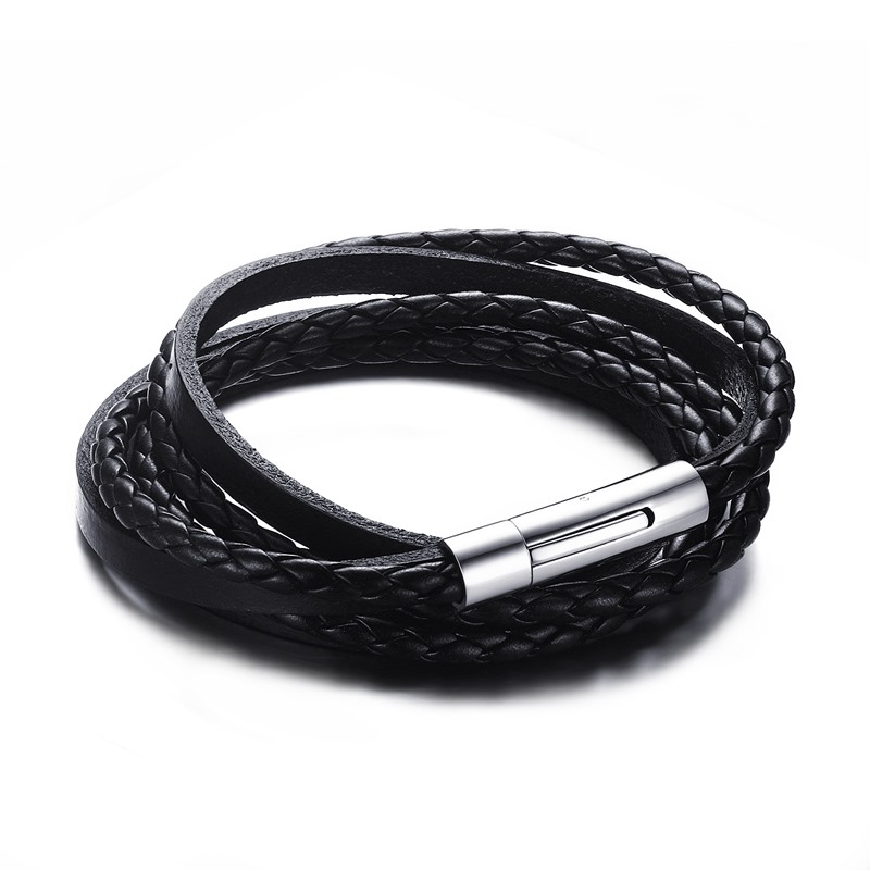 Men S Black Braided Leather Multilayer Wrap Weave Bracelets For Men Stainless Steel Magnetic Clasp Punk