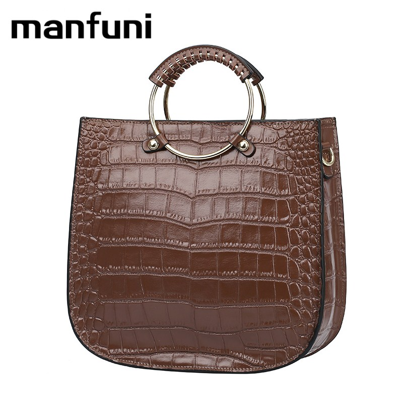 MANFUNI Cow Genuine Leather bags handbags women famous brands female tote shoulder crossbody bag Alligator Top-handle bags 0825 butterfly fish genuine leather alligator totes shoulder bags handbags women famous brands party crossbody messenger bag clutch