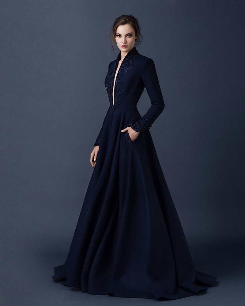 Gothic Elegant Long Sleeve Evening Dresses Dubai Abaya Navy Blue ...