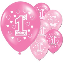 10pcs/lot Pink Blue Baby 1st Years Old Birthday Latex Balloons Girl Boy Baby Shower Party Decor Star Heart Printed Ballons pink owl printed diaper raffle tickets baby shower games 50 cards