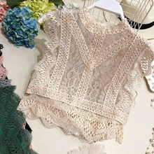 Women's Sleeveless Lace Tank Top Solid Sexy Hollow-Out Floral Crochet Crop Top Shirt hollow out contrast crochet lace top