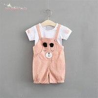 Summer Baby Kids Children Girls Short Sleeve T Shirt Tops Cartoon Bear Overall Shorts Pant 2pcs
