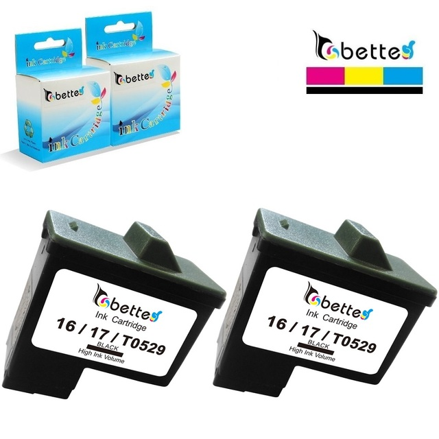 2PK, Black Ink Cartridges for Lexmark 16 10N0016 Printer Z601 Z602 Z603 Z605 Z611 Z612 Z614 Z615 Z617 Z640 Z645 Z717 Z817 Z819