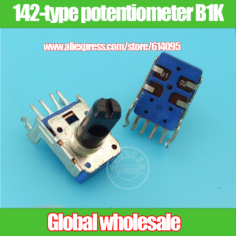 4 pcs 142-tipo único potenciômetro B1K/horizontal 4 pés/eixo 13MMF/com ponto médio
