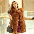 Women Slanting lapel  real fur long vest fox fur vest silver Female fox fur vest rabbit fur vest A variety of color