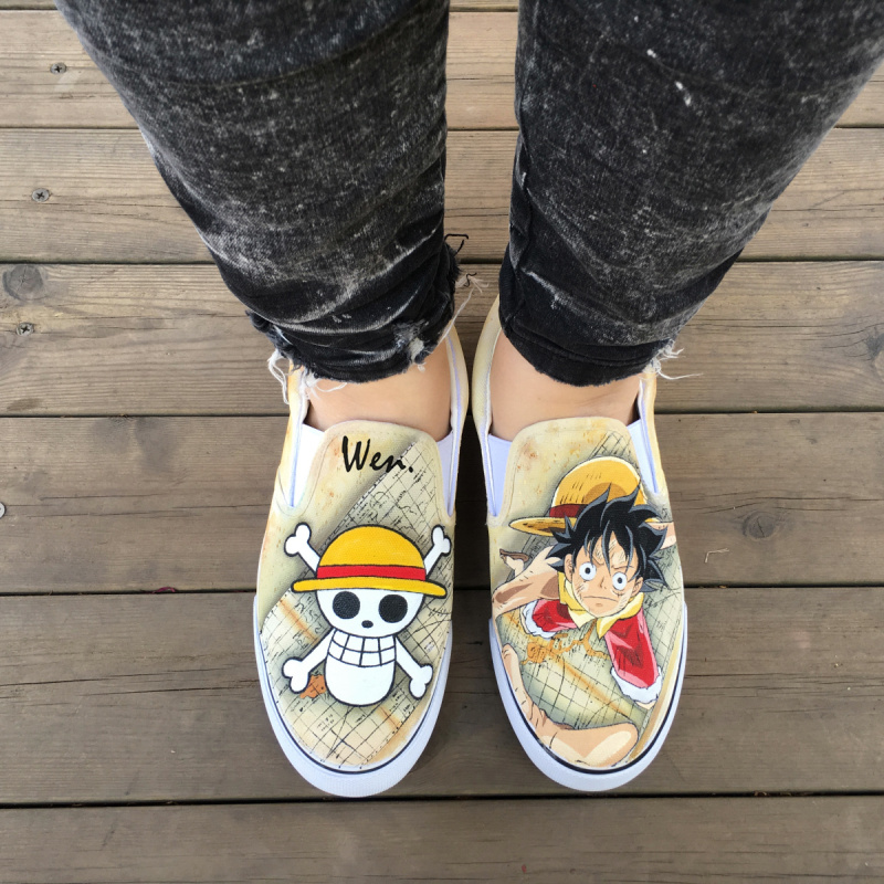 Wen Anime Slip On Shoes Hand Painted One Piece Luffy Jolly Roger Design White Canvas Sneakers Mens Womens Gifts wen design hand painted shoes custom anime samurai champloo slip on canvas sneakers for men women s special gifts