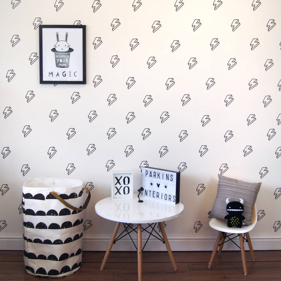 48 PCS Per Set DIY Art Sticker Wallpaper Lightning Bolt Wall Stickers Home Decorate Bedroom Monochrome Vinyl Wall Decal Z028 ...