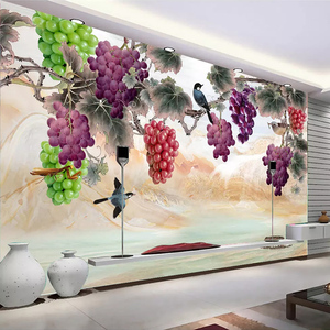 Custom 3D Wall Murals Wallpaper New Chinese Style Hand Painted Purple Grape Flowers Birds Art Wall Painting Living Room Bedroom(China)