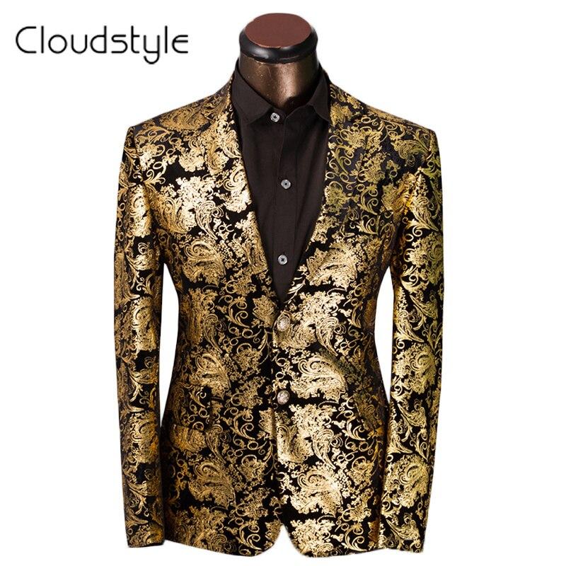 eca9168edf5 2017 Brand Clothing Luxury Men Suit Jacket Golden Floral Suit Men Slim Fit  Costume Homme Wedding Dress Size S 6XL-in Suits from Men s Clothing    Accessories