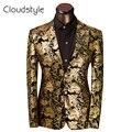 2017 Marca de Ropa de Lujo de Los Hombres Traje Traje de Los Hombres Slim Fit Traje Homme Chaqueta Floral de Oro de La Boda Vestido de Tamaño S-6XL