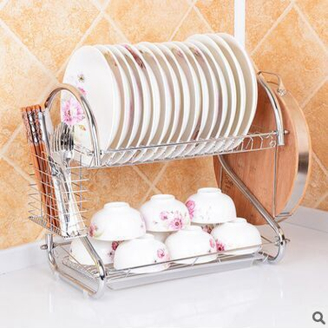 Double Tiers shelf Multi-functional Stype Stainless Steel Dish Rack Kitchen Storage Boxes Dish Drainer & Double Tiers shelf Multi functional Stype Stainless Steel Dish Rack ...