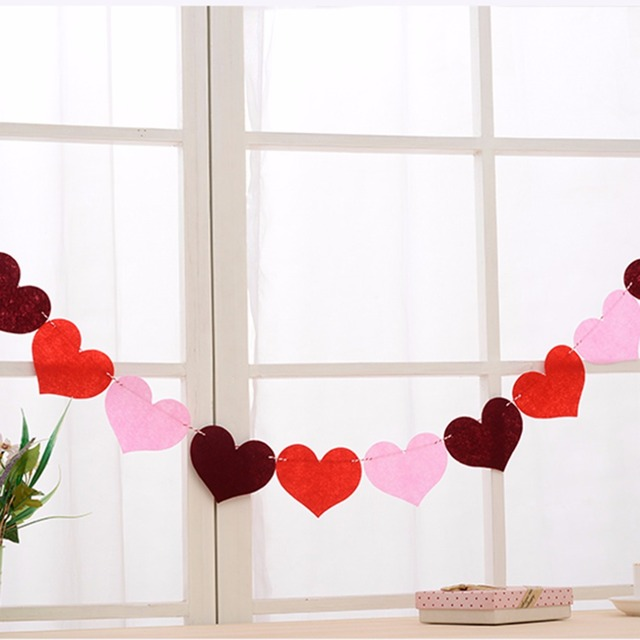 Colorful Love Heart Hanging Banners Flag Window Walls Ceiling Ornaments