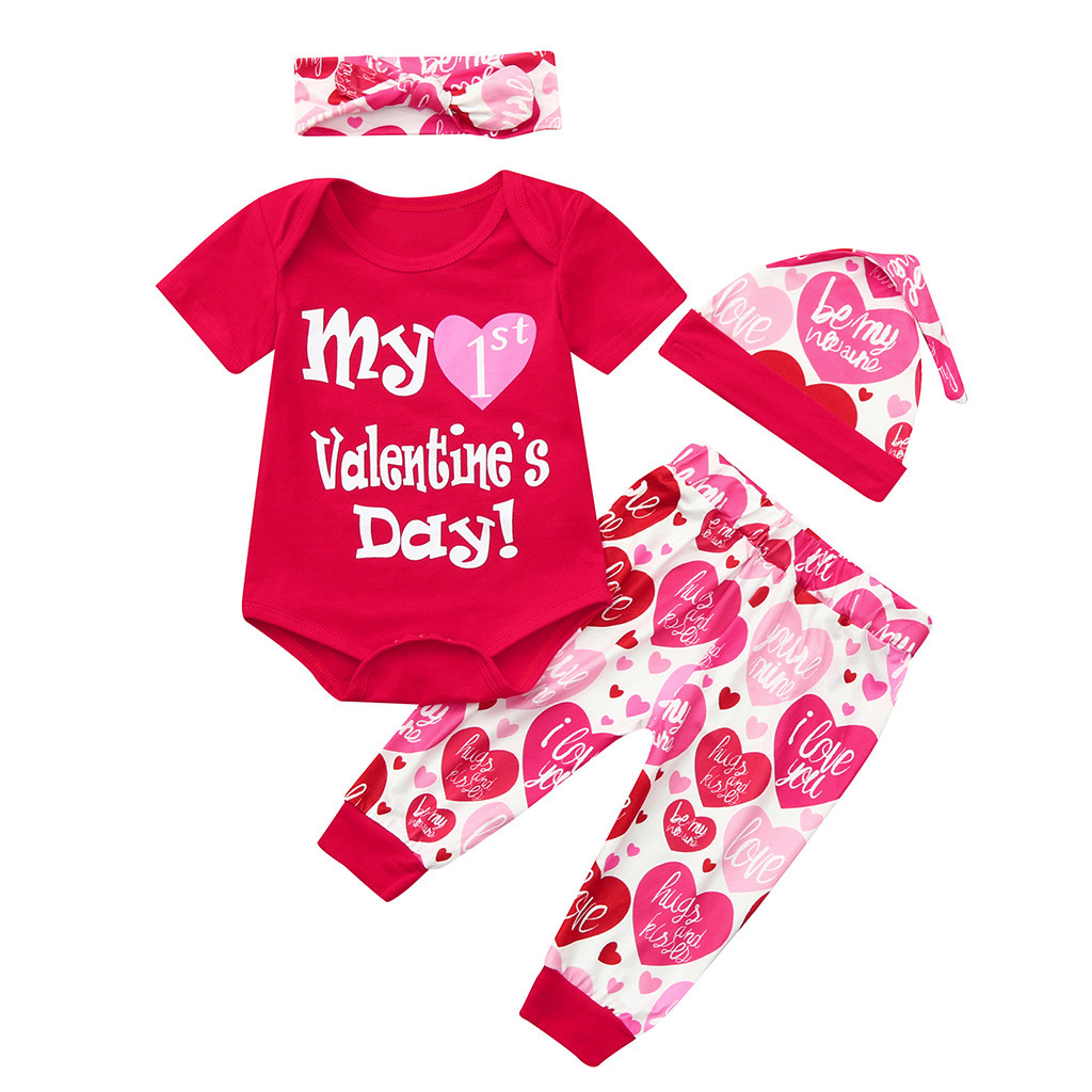 Toddler Baby Girls Valentine/'s Day Romper Jumpsuit Bodysuit Headband Outfits
