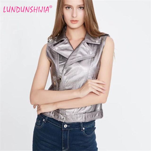 968933a7d14e LUNDUNSHIJIA Women Vest 2017 New Sleeveless Leather Jacket Motorcycle Vest  Tops Outerwear Clothing Silver Pink