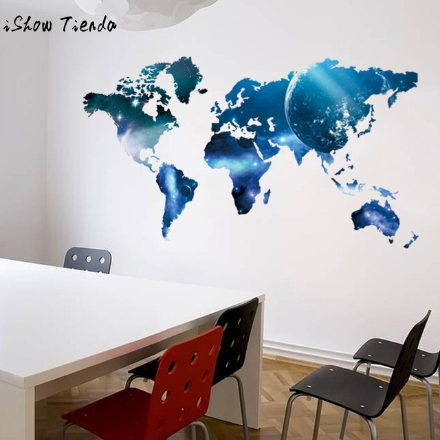 World Map Removable Vinyl Wall Sticker Wallpaper Home Office Art