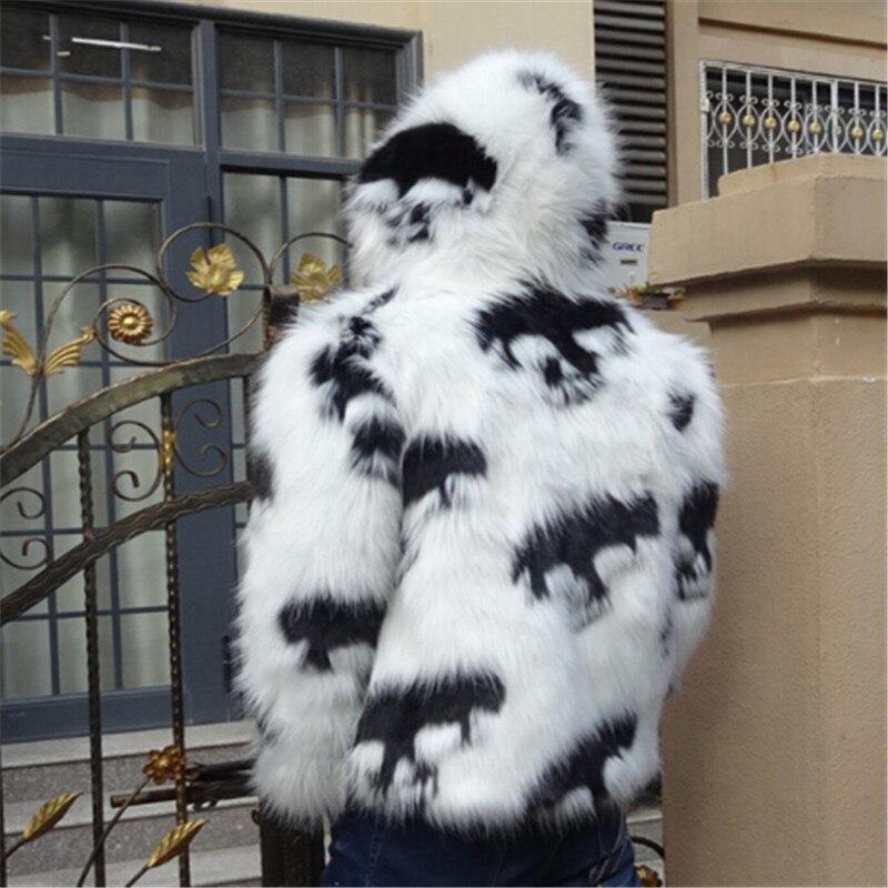 2019 зимнее Мужское пальто из искусственного меха с капюшоном, мужская куртка с лисьим мехом, высококачественное меховое пальто с черепами - 3