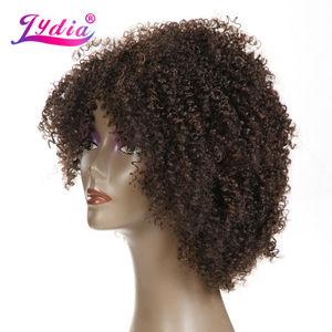 Image 5 - Lydia Afro Kinky Krullend Synthetische Pruiken Natuur kleur Korte Vrouwen Pruiken Kanekalon Hittebestendige Afro amerikaanse Natuur Pruiken