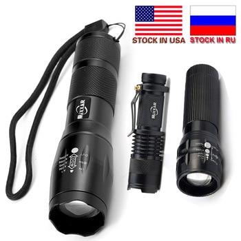 Linterna LED portátil T6/Mini Q5 con zoom Q250, de aluminio, para exteriores,...