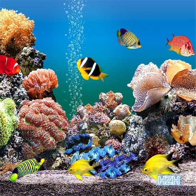 Free shipping deep sea coral fish children 39 s room wallpaper mural custom sizes in wallpapers - Sea coral wallpaper ...