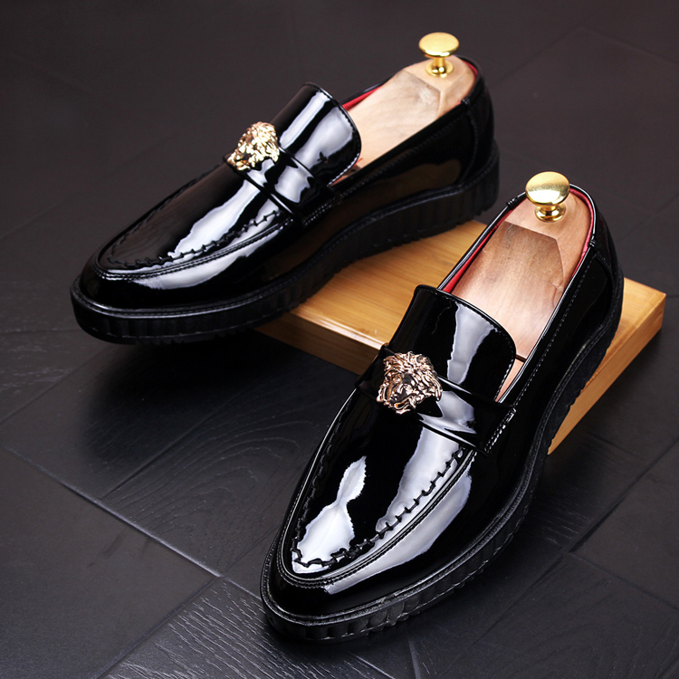 high quality men casual business wedding formal dress bright patent leather shoes gentleman flats oxfords shoe slip on zapatos top quality crocodile grain black oxfords mens dress shoes genuine leather business shoes mens formal wedding shoes