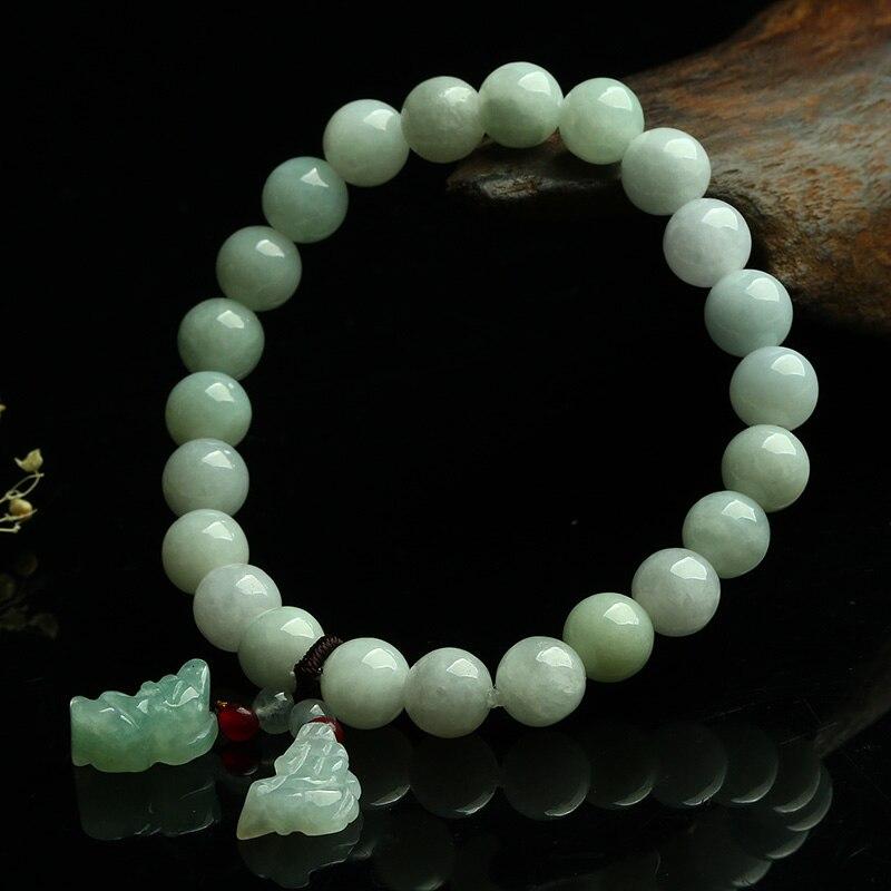 Genuine Jade Beads: Genuine Natural Glutinous Jade Beads Round Bracelet