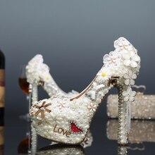 2016 Fashion Beautiful White Pearl Wedding Shoes Love Bridal Dress Shoes Crystal Prom Shoes Luxurious Diamond Platform Pumps