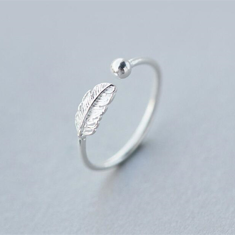 Hot Sale Atmosphere Personality 925 Sterling Silver Jewelry High-quality Feather Female Leaf Simple Opening Ring SR268 multi line high quality fashionable opening ring