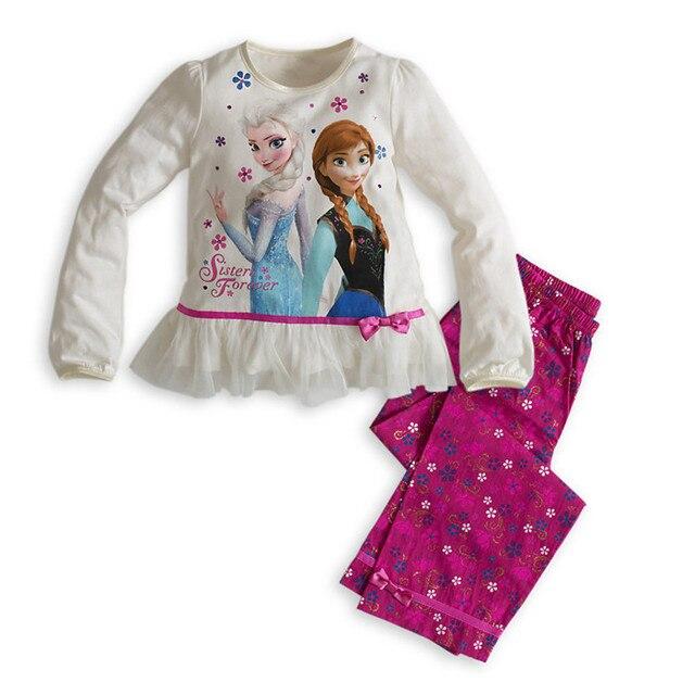 Королева снег девушки полиэстер пижамы набор детские девушки снежная королева анна Эльза пижамы дети девочка с длинным рукавом ночной рубашке дом ребенка носить