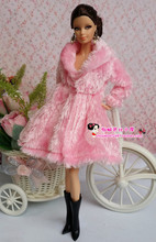for robe barbie clothes Fur coat lot High Quality Fashion Outfit beautiful dress original  accessories set