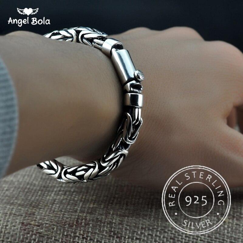 S925 Thai argent chaîne charmes bracelets 925 bijoux en argent Sterling bouddha bracelets pour femme bracelet hommes Vintage largeur 5-8mm