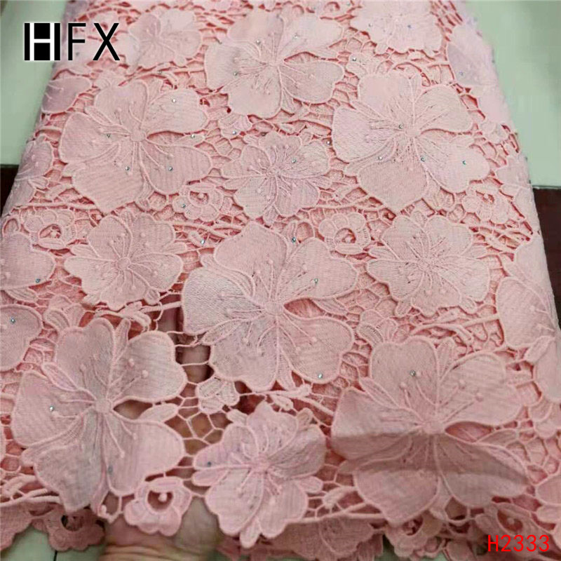 HFX High Quality Peach Cord Lace Fabric With Stones Hot Sale French Guipure Lace Fabric For Nigerian Wedding Party Dress H2333