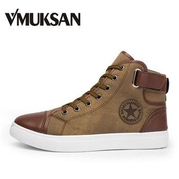 VMUKSAN Men Shoes Big Size 38-47 Fashion High Top Canvas Casual Shoes Patchwork Men's Vulcanize Shoes 2018 Spring Lace Up Flats
