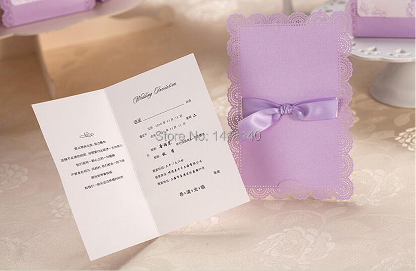 Aliexpress 50pcs Lot Color Violet Purple Laser Cut Wedding Invitations Cards With Ribbon Envelope And Seals From Reliable
