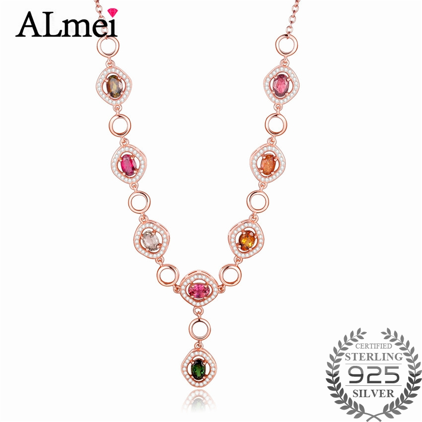 Almei Luxury Rose Gold Color Multicolor Round 0 5ct Tourmaline Necklace Pendants Silver 925 Jewelry Gift