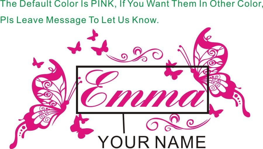 Personalized Name Customer Butterflies Dream Love story wall decal quote sticker 52X28CM